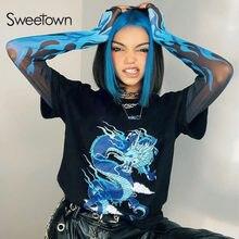 Sweetown – t-shirt à manches longues en maille pour femme, Streetwear, Style gothique, Punk, Y2K, Dragon et feu imprimés