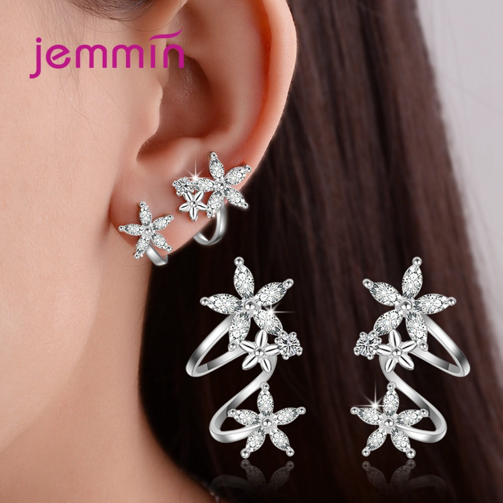 New Arrival Korean Fashion Trendy Genuine 925 Sterling Silver Clip Earrings Lovely Flowers Shape With Bright AAAAA CZ Crystal