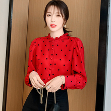 Womens Tops and Blouses Autumn Women's Shirt Long Sleeve Polka Dot Ruffled Shirt Chiffon Shirts Blouse цены