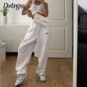Darlingaga Streetwear Letter Embroidery Loose Sweatpants Women Pants Casual Autumn Side Zipper High Waist Pants Harajuku Bottom