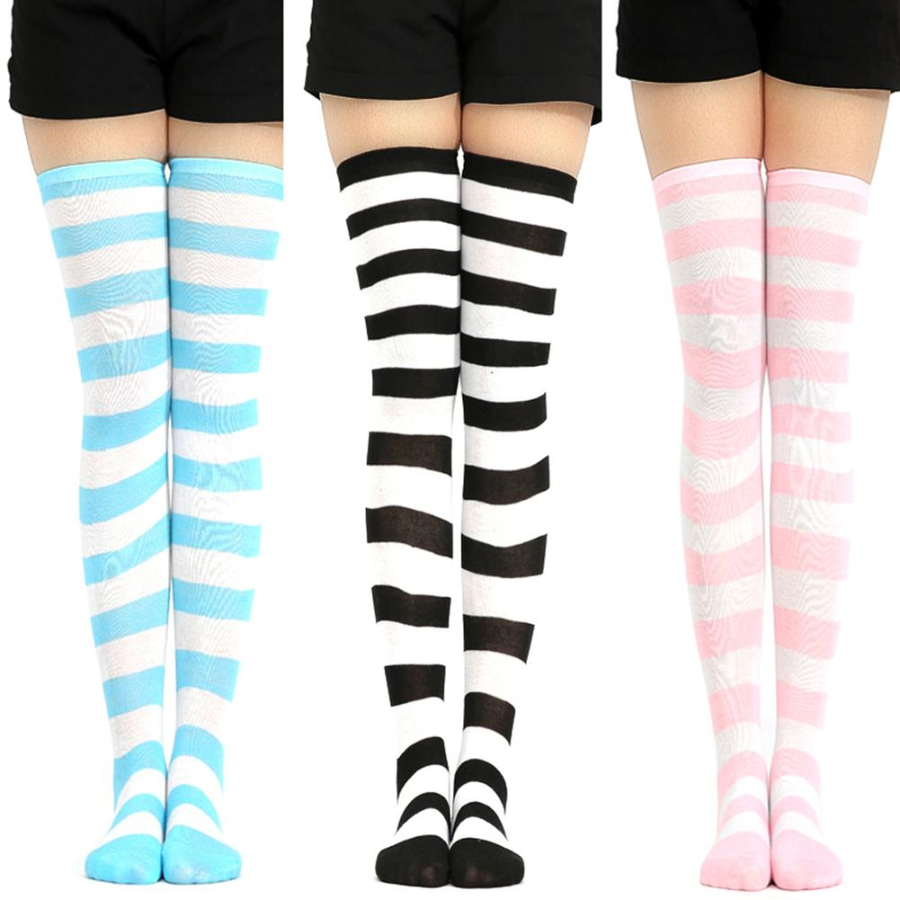 Women Socks Fashion Stockings Women Stripe Thigh High Over Knee Socks Stockings Stretch Long Cosplay Socks Chaussette Femme