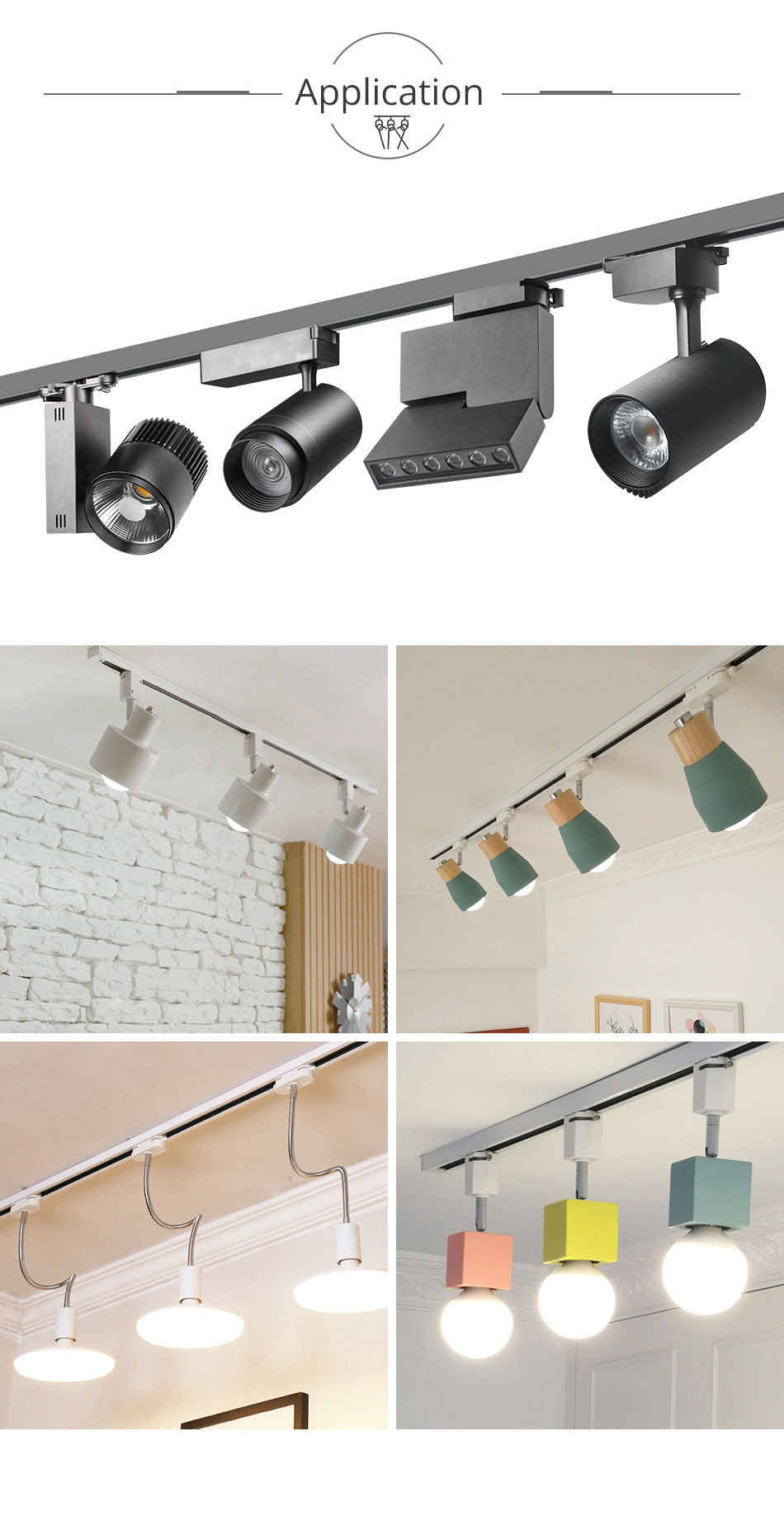 Track Rail 1m Track Light Fitting Aluminum 1 meter 2 wire Connector System Tracks Fixture black white Universal Rails 10pcslot (10)