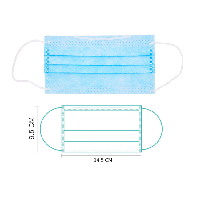 100Pcs 3 layer Disposable Elastic Mouth  Blue Soft Breathable Flu Hygiene Child Kids Face Mask Dropshipping 2