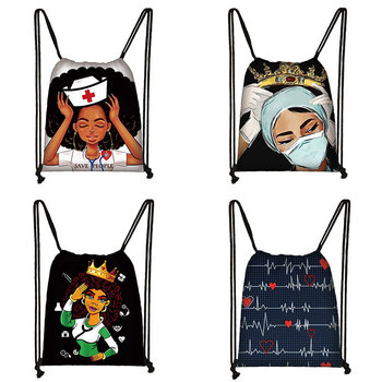 Black Nurse drawstring bag boys girls backpack teenager storage bagskids bookbag travel bags Heartbeat Pattern soft back - discount item  5% OFF Special Purpose Bags