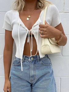 Wannathis Sexy Cropped Top Short-Sleeve Lace-Up Slim Front-Split Hollow-Out Women Fashion