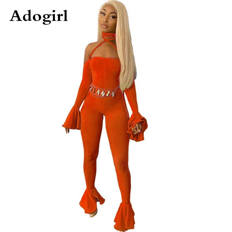 Slash Neck Bandage Strap Jumpsuit Long Bell Sleeve Bodycon Jumpsuit Flare Romper Foot But Pants 2019 Autumn Club Party Playsuit