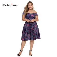 Echoine Evening Party Dresses Women Floral Print Slash Neck Plus Size Off The Shoulder Ladies Gorgeous Woman Vestidos Outerwear
