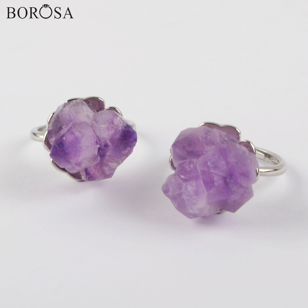 BOROSA Natural <font><b>Raw</b></font> Amethysts Silver <font><b>Ring</b></font> Engagement <font><b>Ring</b></font> Wedding <font><b>Rings</b></font> Natural Purple Quartz <font><b>Rings</b></font> for Women Jewelry Gift ZG0435 image