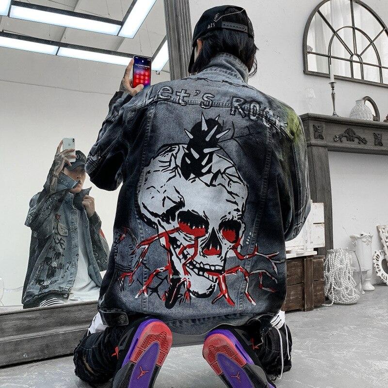 Мода Харадзюку череп ретро рок винтаж серая джинсовая куртка мужская бойфренд панк Толстовка sudadera уличная ковбойская хип-хоп