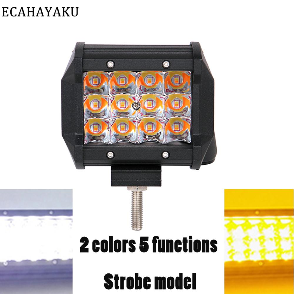 ECAHAYAKU Triple row 4inch 36W Led Light Bar Dual color 4000K/6000K Strobe Led Bar Light for Off Road SUV 4WD 4X4 Trailer Trucks image