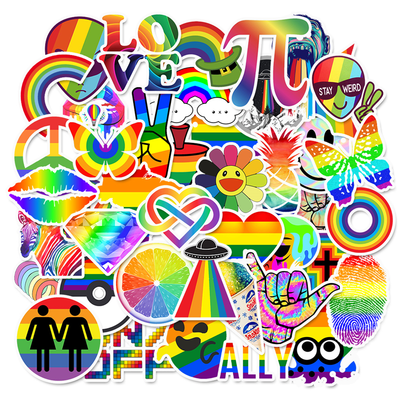 50 Pcs/pack Tide Brand Rainbow Color Graffiti Series Stickers For Suitcase Luggage Laptop Motorcycle Skateboard Phone Stickers