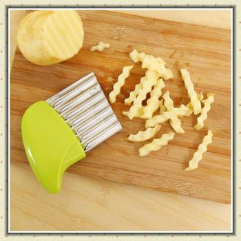 Stainless Steel Wave Edged Potato Slicer Cutter Onion Carrot Chips Corrugated Creative Vegetable Chopped Slices Kitchen Gadgets image
