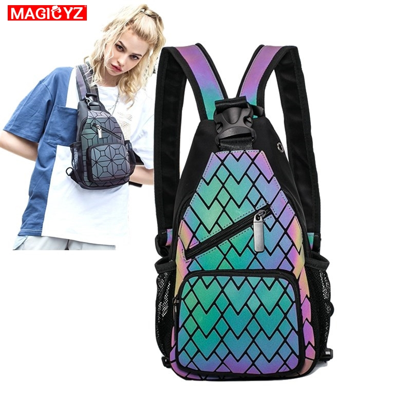 Female Chest Bags Women Double Shoulder Bag Canvas Luminous Crossbody Bags For Women Short Trip Bag With Headphone Jack