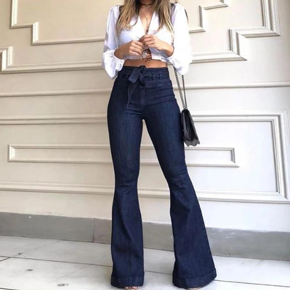 Pantalones Flare De Tela Vaquera A La Moda Pantalones Vaqueros Retro De Cintura Alta Para Mujer
