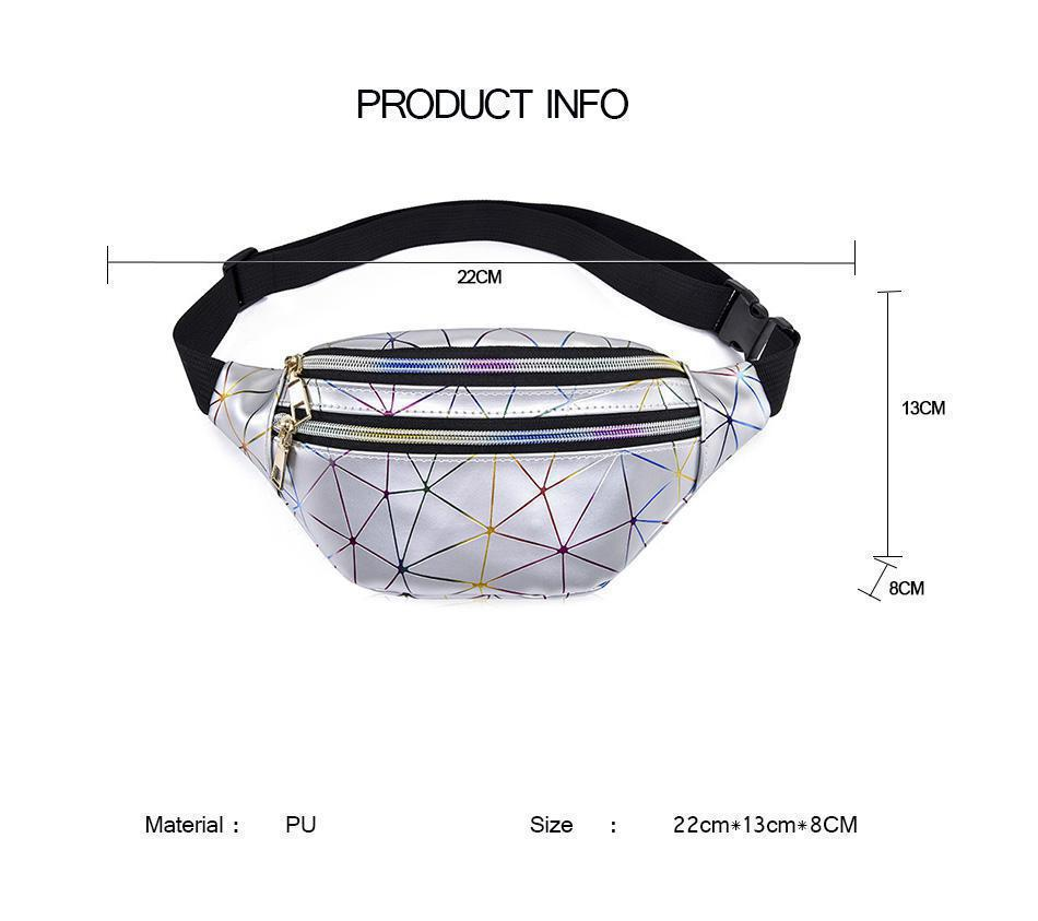 Women Waist Bags Women Pink Silver Fanny Pack Female Banana Belt Bag Wallet Bag Leg Holographic Waist Packs Laser Chest Phone