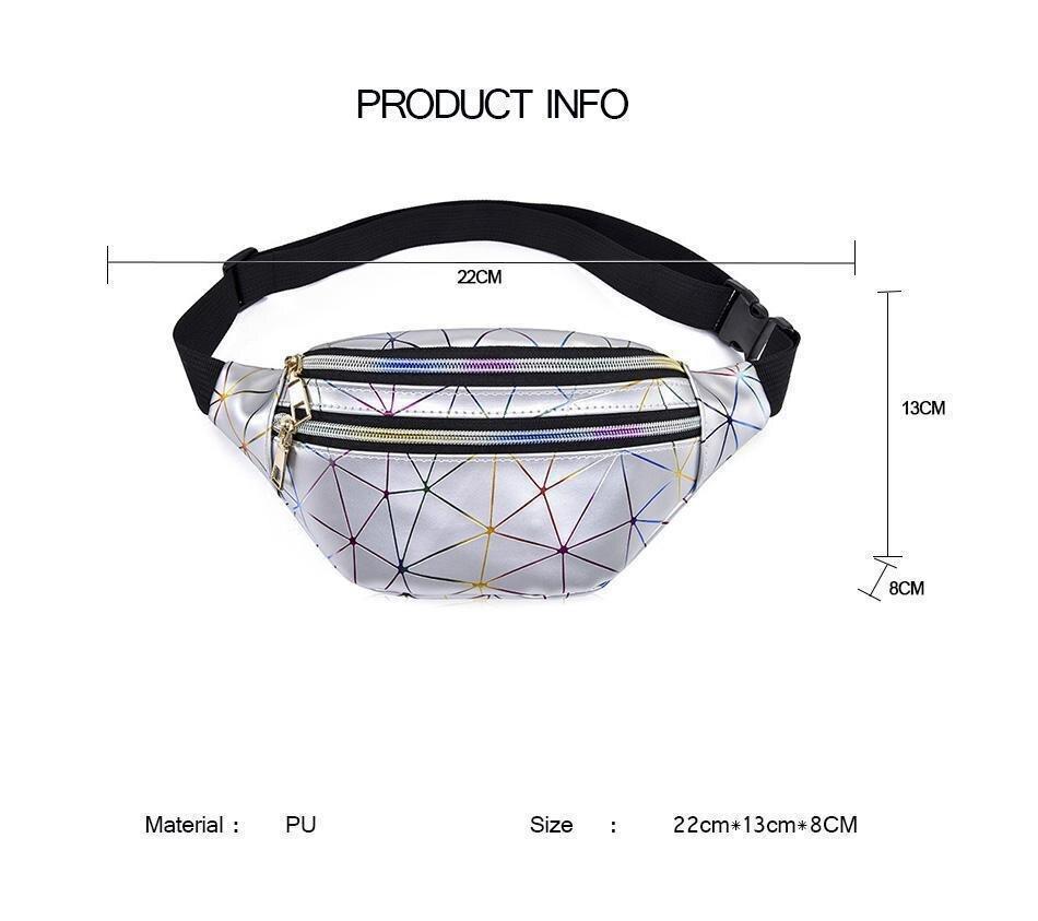 Women Waist Bags Women Pink Silver Fanny Pack Female Banana Belt Bag Wallet Bag Leg Holographic Waist Packs Laser Chest Phone