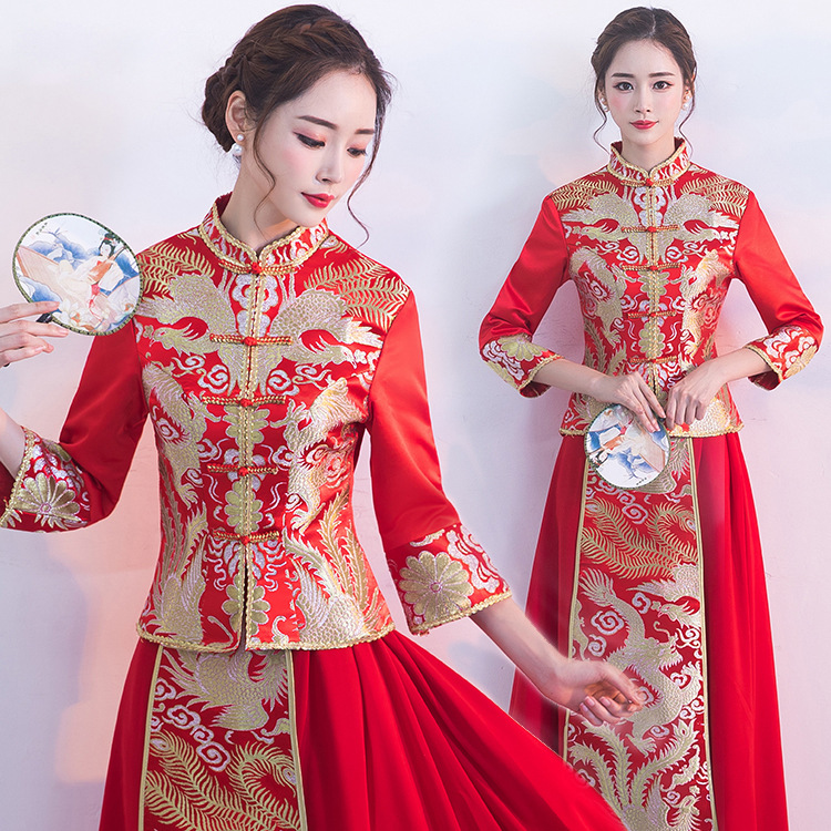 Red Cheongsam Long Qipao Women Dress Wedding Dress Modern Chinese Wedding Dress Bride Traditions Robe Orientale