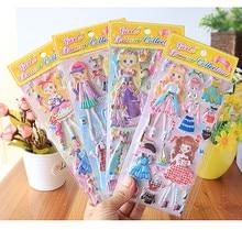 8sheets /лот Каваи одеваются наклейки для девочек мода 3D мультфильм ПВХ стикер водонепроницаемый детские игрушки подарки новые стили