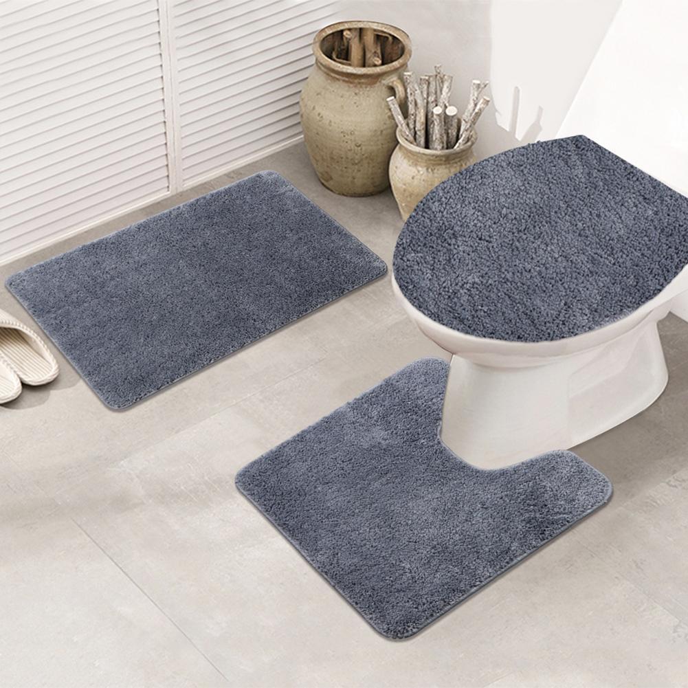 3 pièces anti-dérapant toilette siège couvercle couvre-sol antidérapant coussin ensemble maison salle de bains décor tapis de bain ensemble piédestal tapis couleur pure kit