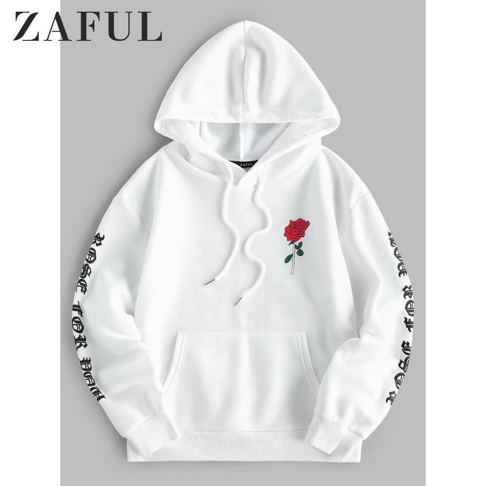 ZAFUL Autumn Front Pocket Sweatshirts For Men 2019 Rose Printed Drop Shoulder Jumper Pullover Casual Long Sleeve Sweatshirt