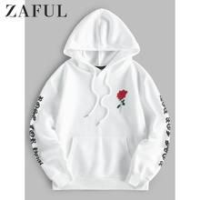 ZAFUL Autumn Front Pocket Sweatshirts For Men 2019 Rose Printed Drop Shoulder Jumper Pullover Casual Long Sleeve Sweatshirt