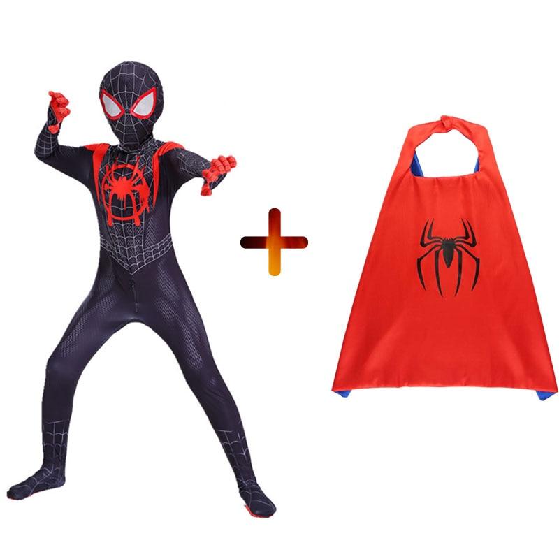 2019 Miles Morales Spiderman 3D Print Costume Adult Kids Boys Spider Man Cosplay Costume Superhero Zentai Spiderman Suit