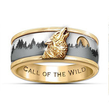 Two Tone Goud & Zilver Call De Wild Viking Wolf Ring Mode Heren Band Sieraden(China)
