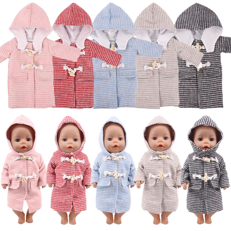 Doll Clothes 5 Solid Colors Long-Style Hooded Coat Suits Fit 18 Inch American&43 Cm Baby Logan Boy Doll Christmas Girl`s Toy