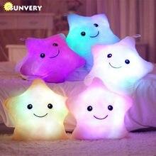 Ilumine acima o travesseiro de pelúcia luminoso crianças diodo emissor de luz estrela coisas colorido brilhante travesseiro bonito macio brinquedos almofada presente de aniversário para meninas