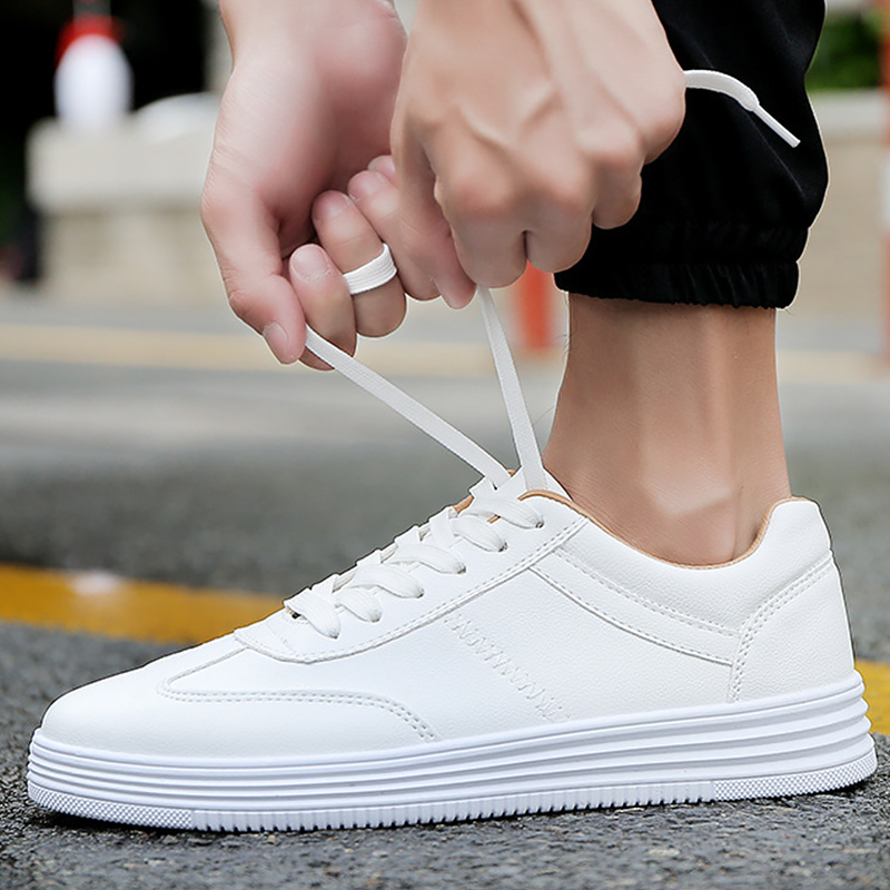 Leather Sneakers Boys Casual Shoes 2020 Spring Classic Black/white Sneakers Men Flat Comfot Sneakers