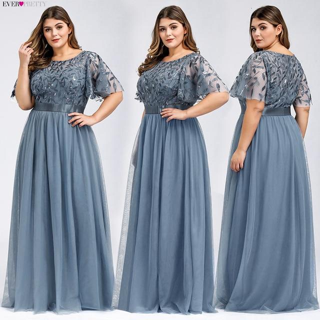 Plus Size Sequined Evening Dresses Long Ever Pretty A-Line O-Neck Tulle Elegant Formal Evening Gowns Vestido Noche Elegante 2019 2