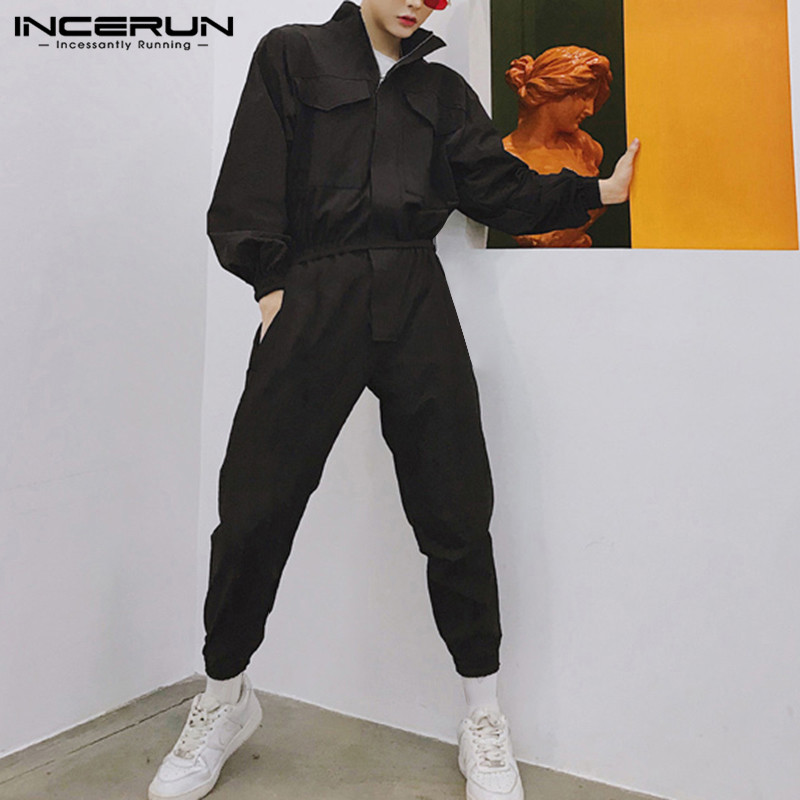 INCERUN 2019 Stylish Men Rompers Jumpsuit Long Sleeve Joggers Streetwear Solid Zippers Hip-hop Casual Pants Cargo Overalls Men