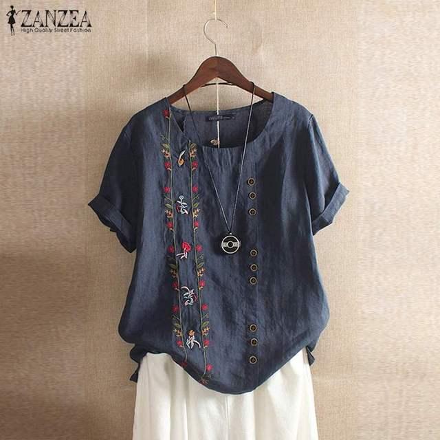 Camisas de verano ZANZEA túnica de bordado Floral Blusas de manga corta Casual de mujer blusa suelta de algodón Vintage camisola de mujer