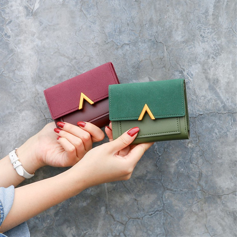2020 Short Women Wallets Matte Leather Hasp Small Wallet PU Leather Solid Purses Credit Cards Money Fashion Mini Wallet For Girl