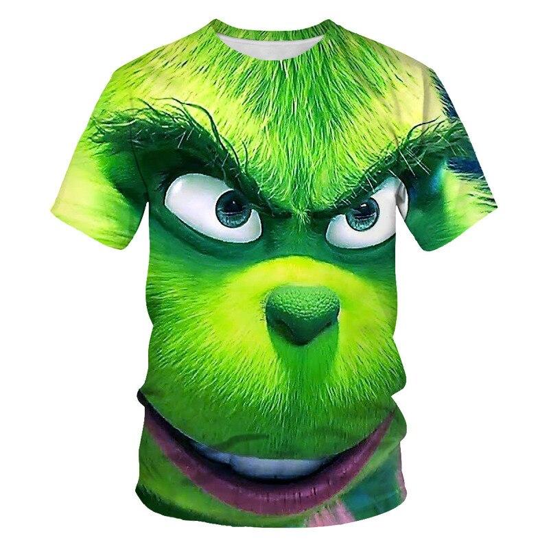 Camiseta de dibujos animados de animales para hombre, camiseta de cuello redondo con estampado de manga corta suelta en 3D, nuev
