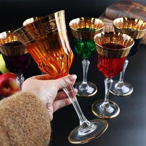 Taça de cristal de luxo 24k ouro copo de vinho copo de champanhe flauta copos de cristal de vidro criativo casa bar do hotel festa bebendo ware