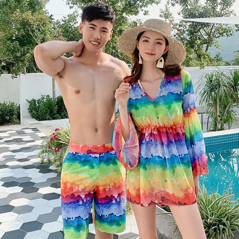 Couples Bathing Suit Men And Women Holiday Honeymoon Bubble Hot Spring Bikini Three-piece Set Skirt Split Type-Belly Covering To