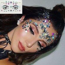 Acrylic Diamond painting Crystal Eyebrow Sticker Rhinestone Face jewelry for birthday decoration halloween party