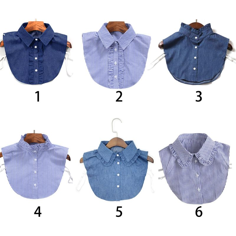 Women Fashion Stripe Denim Lace Shirt Fake Collar Tie Vintage Detachable Collar False Collar Lapel Blouse Top Clothes Accessory