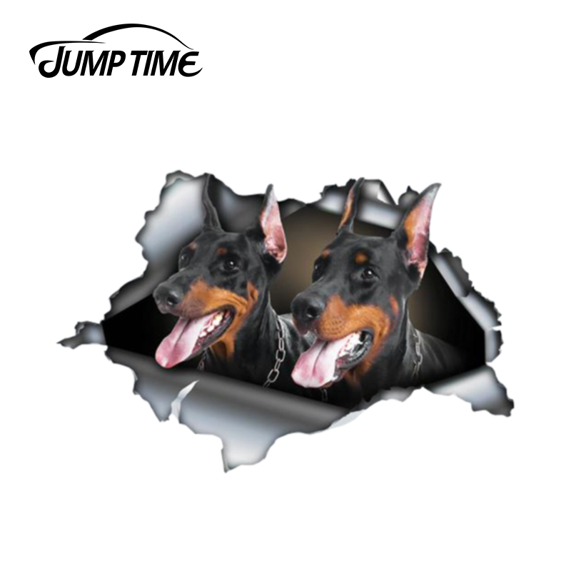 Jump Time 13cm X 8.8cm Black Doberman Sticker Torn Metal Bumper Decal Funny Car Stickers Window Trunk Animal 3D Car Styling
