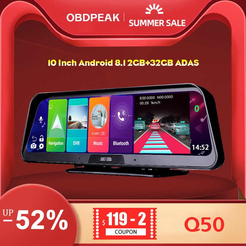 10 Inch Android 8.1 2GB + 32GB ADAS 10 Trong 1 DashCam DVR Xe Ô Tô Gương Camera 4G WIFI GPS Bluetooth Full HD 1080P Đầu Ghi Hình