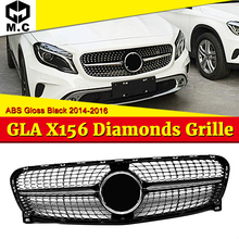 For Mercedes X156 GLA Sport grille grill ABS Gloss Black +Two fin chrome Without Sign GLA180 GLA200 250 GLA45 look grills 14-16