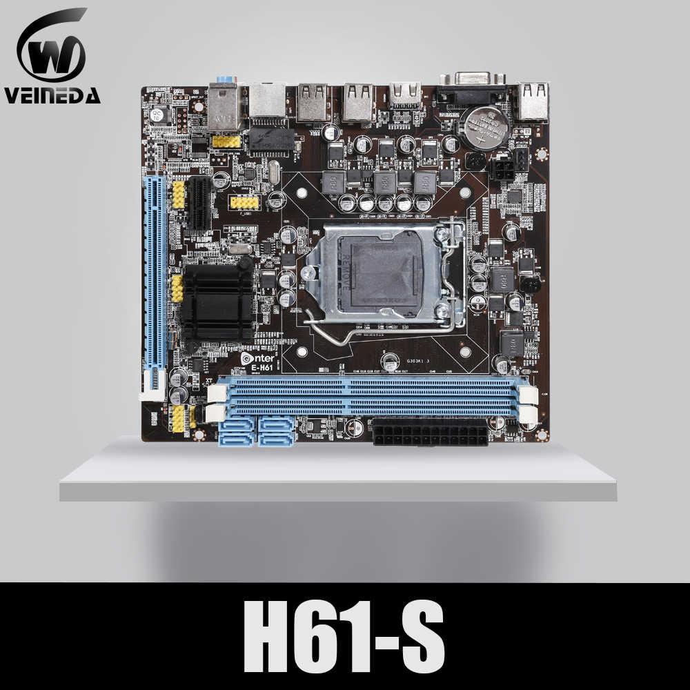 VEINEDA الأصلي H61-S سطح اللوحة المقبس LGA 1155 ل إنتل كور i3 i5 i7 DDR3 الذاكرة 16G uATX H61 PC اللوحة