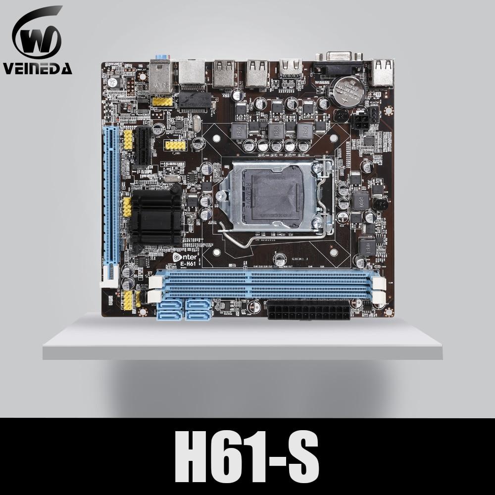 VEINEDA Original H61-S Desktop Motherboard Socket LGA 1155 FOR Intel Core I3 I5 I7 DDR3 Memory 16G UATX H61 PC Mainboard