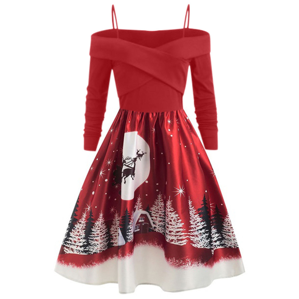 US $9.6 24% OFF|Xmas Women Dresses Casual Christmas Day Dresses Ladies  Clothing Long Sleeve Print Leisure Clothes Plus Size Party Dress Vestidos  on ...