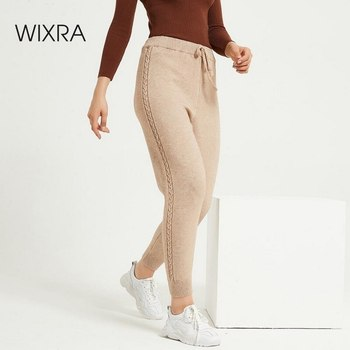 Wixra Casual Womens Knitted Pants Loose High Waist Drawstring Warm Thick Ankle Length Trousers Autumn Winter Clothing - discount item  60% OFF Pants & Capris