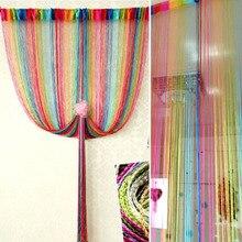Sweet Rainbow Color String Line Curtain Door Window Decor Panel Room Divider Curtain String Curtain Strip Tassel Drape Decor