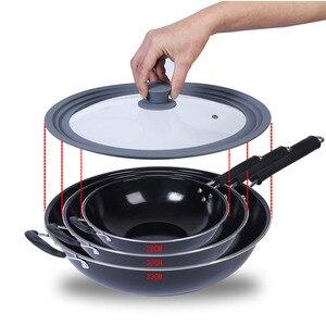 Image 2 - כלי בישול סיליקון זכוכית מכסה פיצוץ הוכחה אנטי סתיו Multi פונקציה סיר ווק תבשיל גבוהה טמפרטורת עגול מטבח מכסה