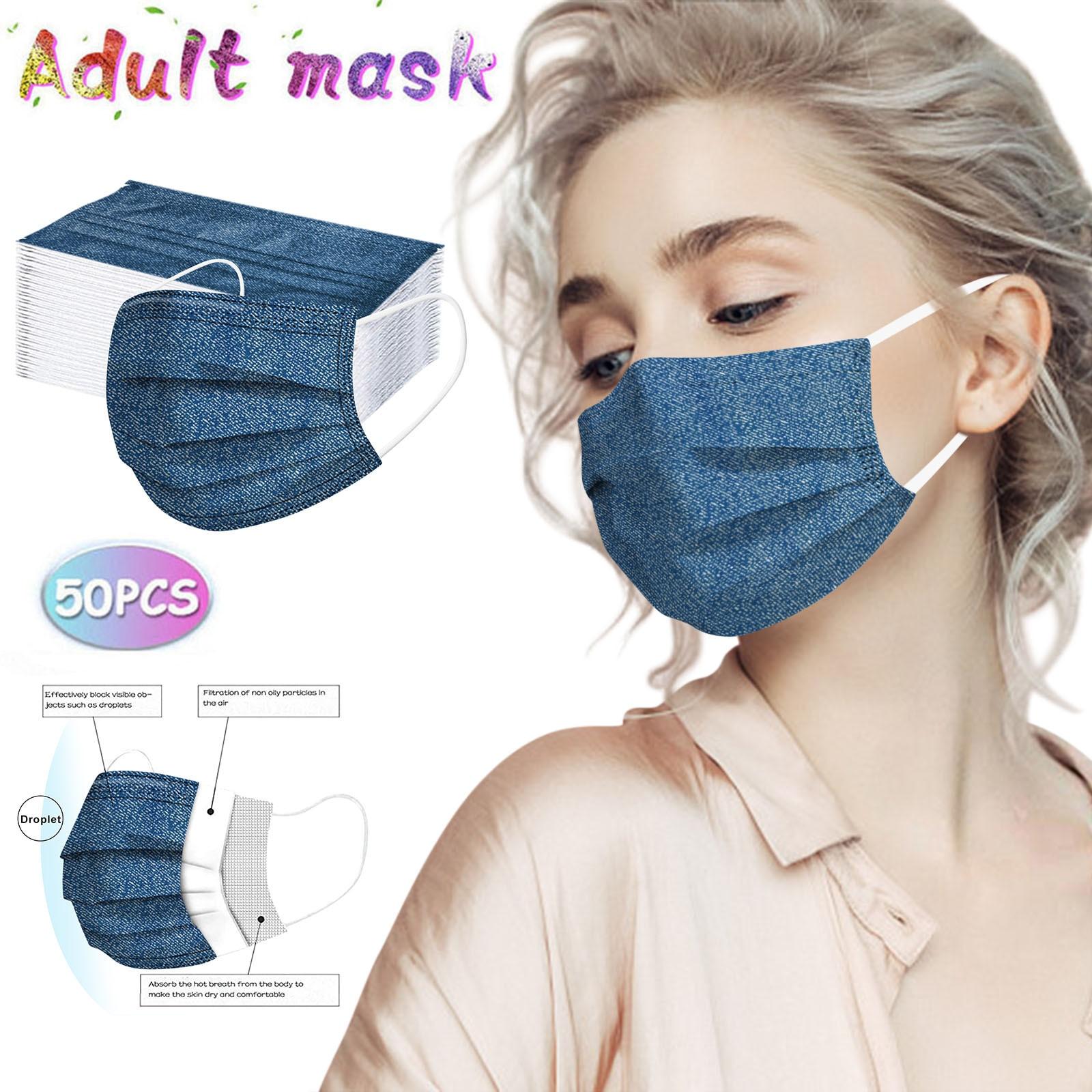 Маска одноразовая для женщин и взрослых, маска промышленная 3-слойная с заушным крючком, дышащая Защитная, 50 шт., # T2