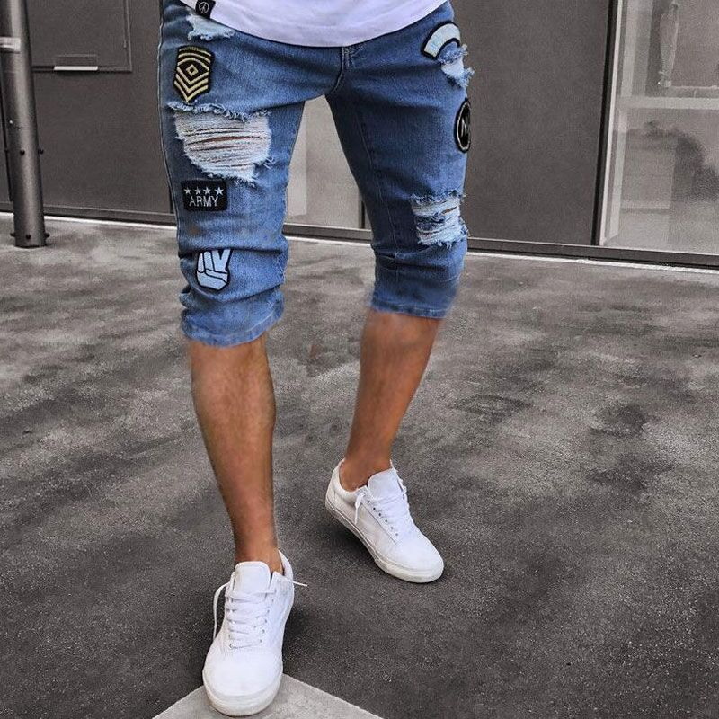 Occident Fashion Cool Men'S Wear Fashion Popular High Street Hole Patch Ripped Jeans Elastic Denim Shorts